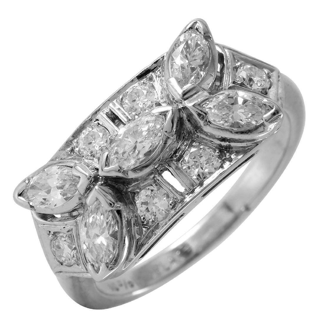 Platinum 1.60ctw Vintage Marquise Diamond Cocktail Ring