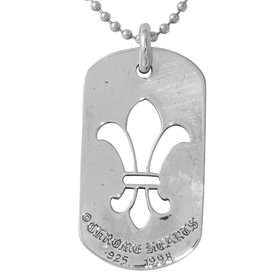 "Chrome Hearts Sterling Silver Dog Tag Necklace 30"" Long"