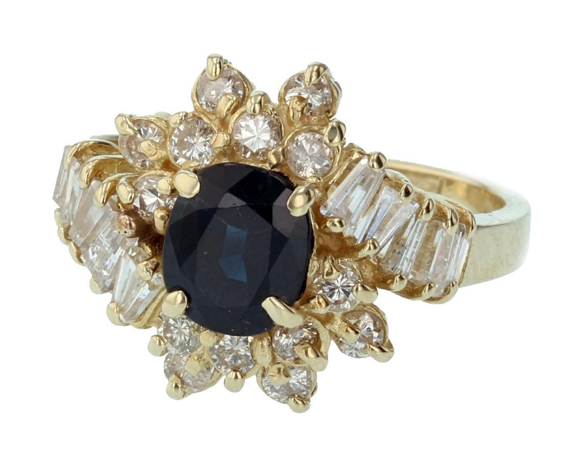 14KT Yellow Gold 2.09ctw Sapphire Diamond Cocktail Ring