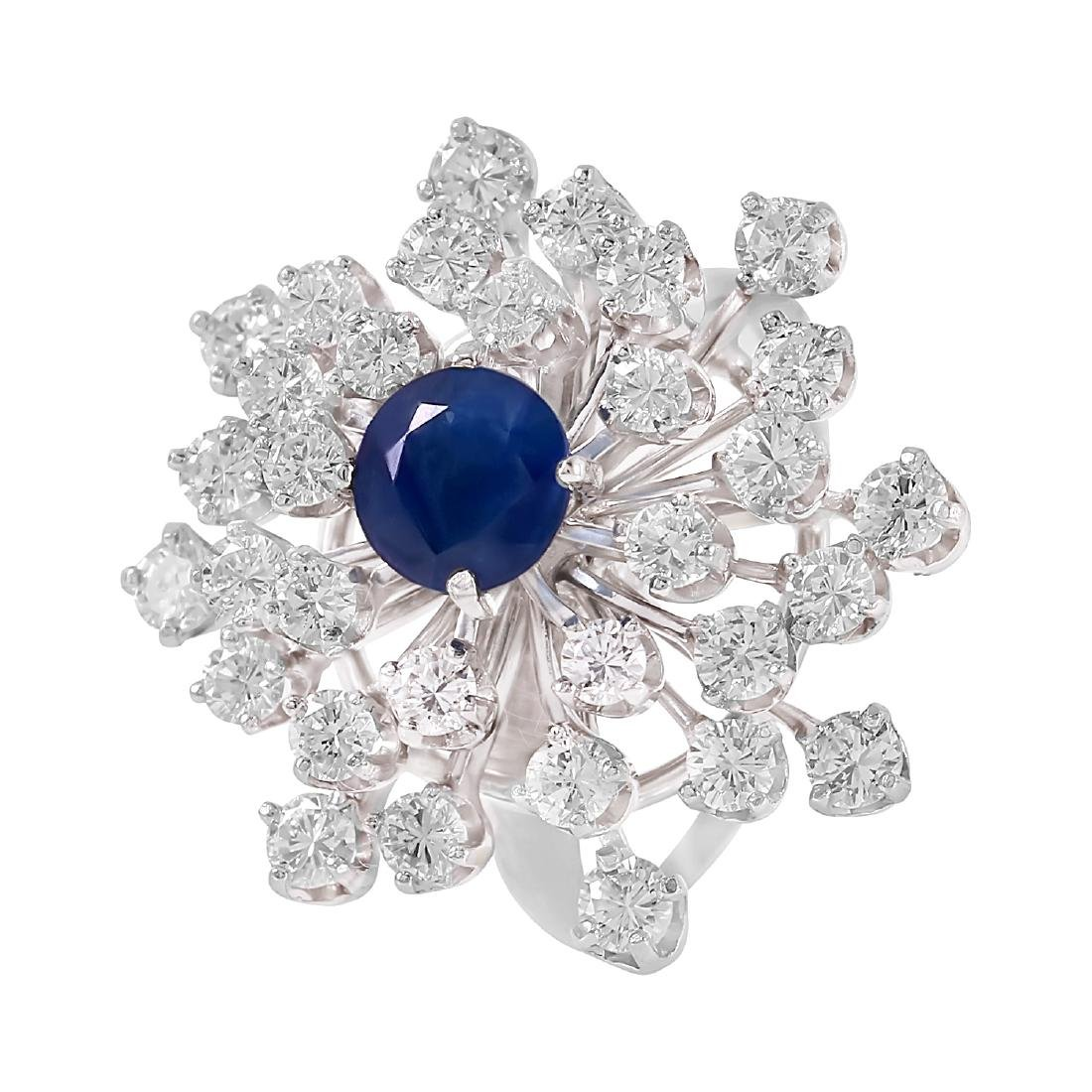 14KT White Gold 2.54ctw Sapphire Diamond Cocktail Ring