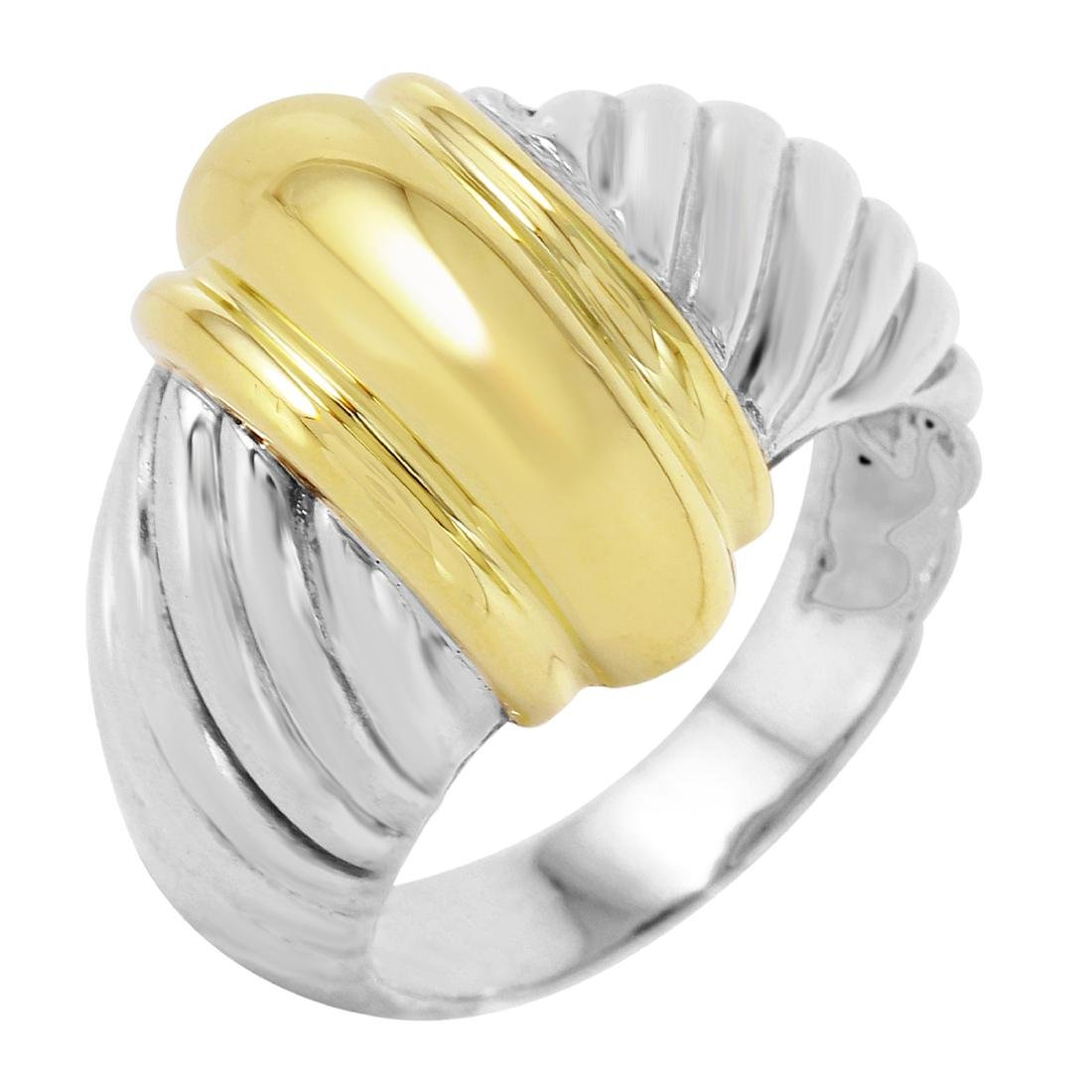 DAVID YURMAN Sterling Silver 18KT Gold Ring Size 5.5
