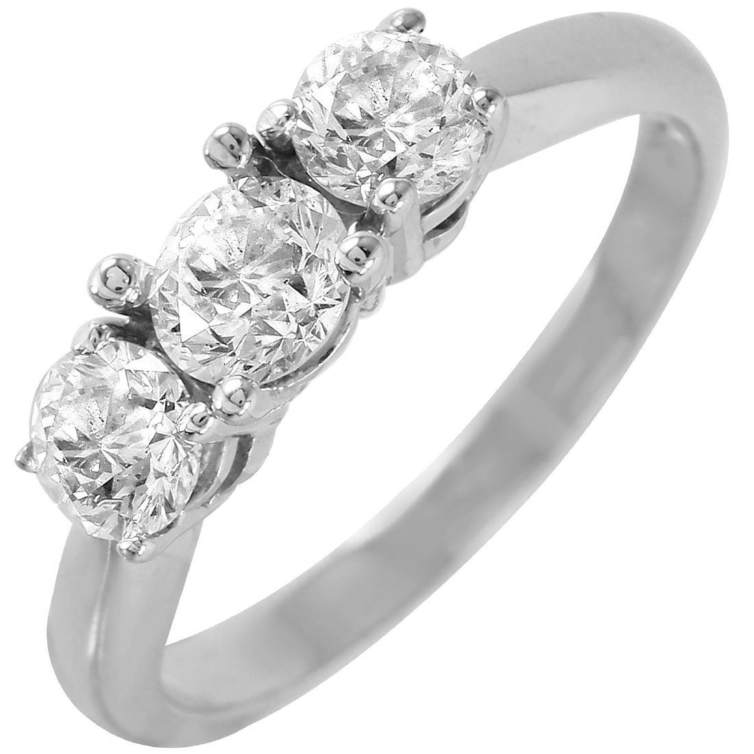 14KT White Gold 0.87ctw Diamond Three-Stone Engagement
