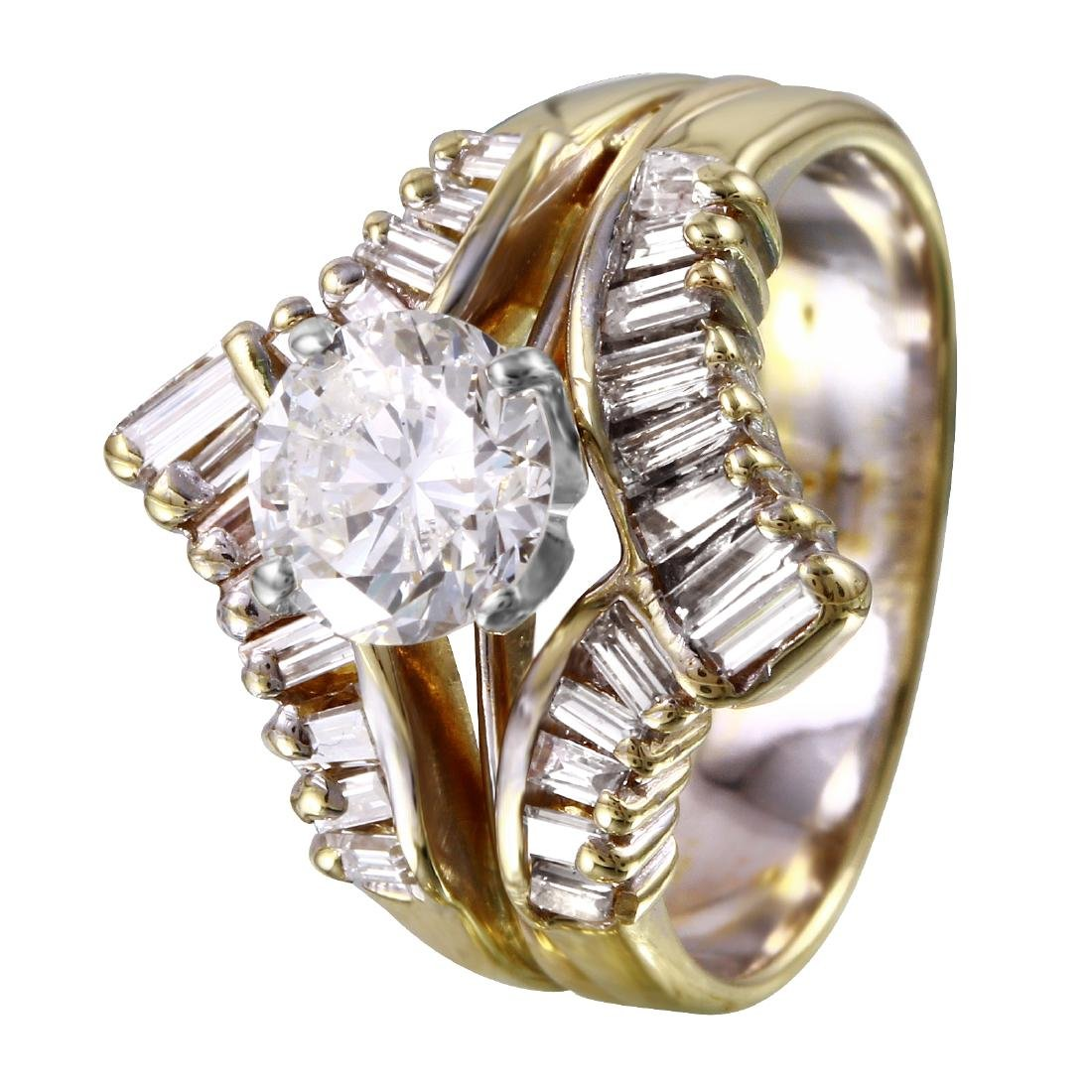14KT Yellow Gold 1.51ctw Diamond Engagement Ring Size 5