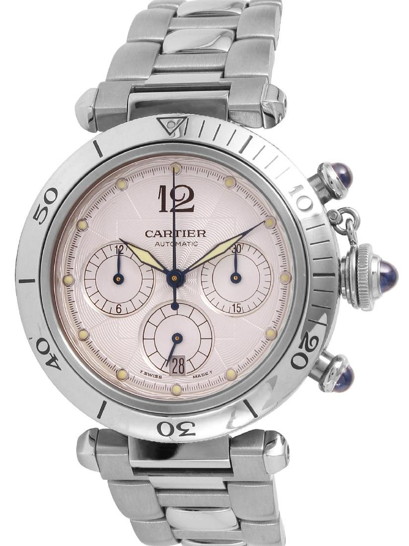 CARTIER PASHA Watch Stainless Steel Chrono 37 Jewels