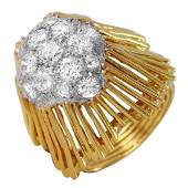 18KT Yellow Gold 2.06ctw Pave Diamond Ring Size 5.75