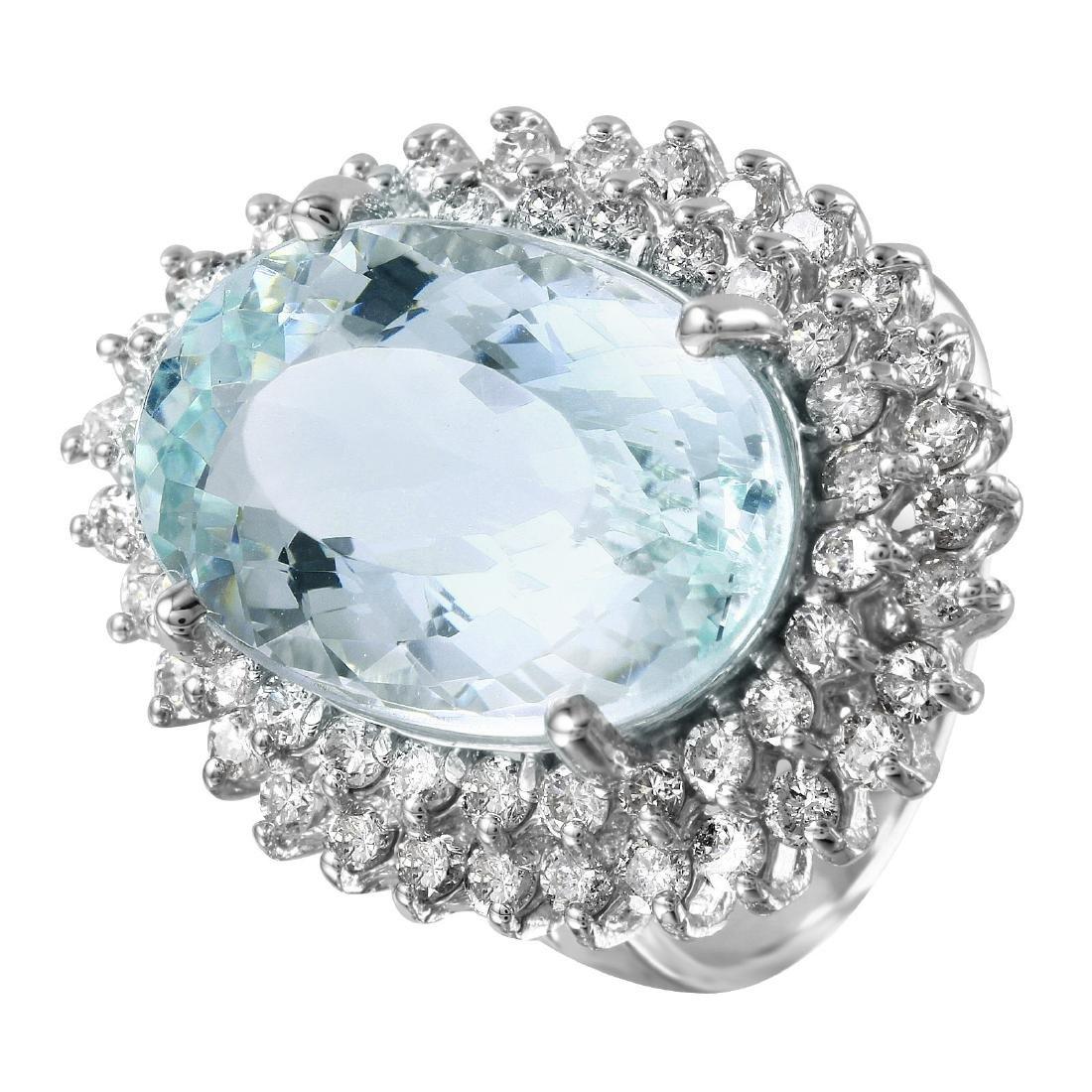 14KT White Gold 11.1ctw Aquamarine Diamond Cocktail