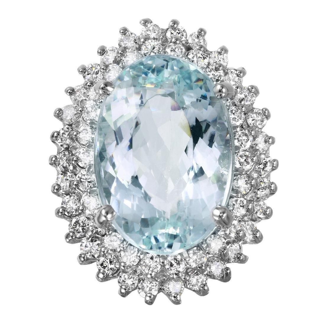 14KT White Gold 11.1ctw Aquamarine Diamond Cocktail - 3