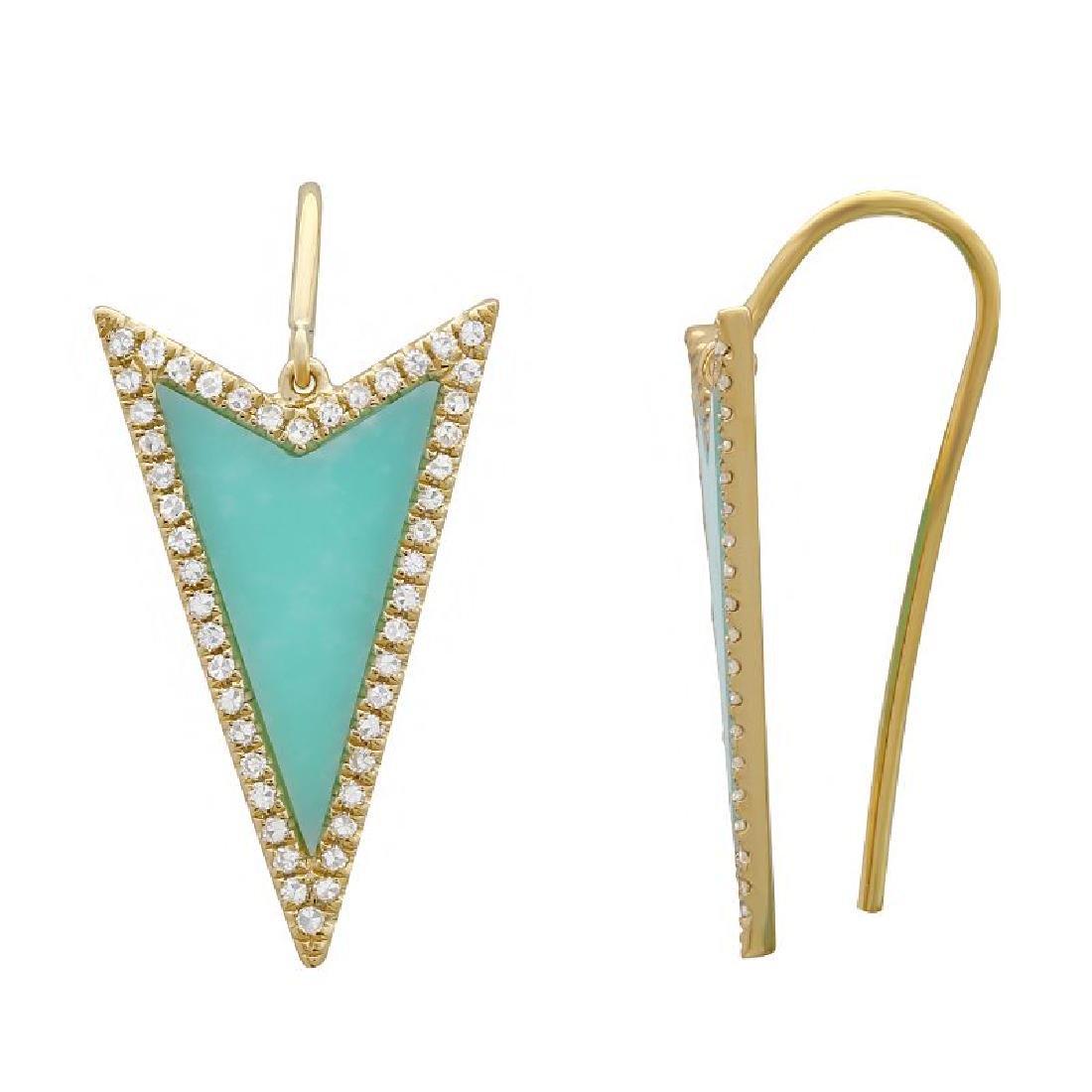 14KT Yellow Gold 1.08ctw Diamond  Turquoise Earrings - 2
