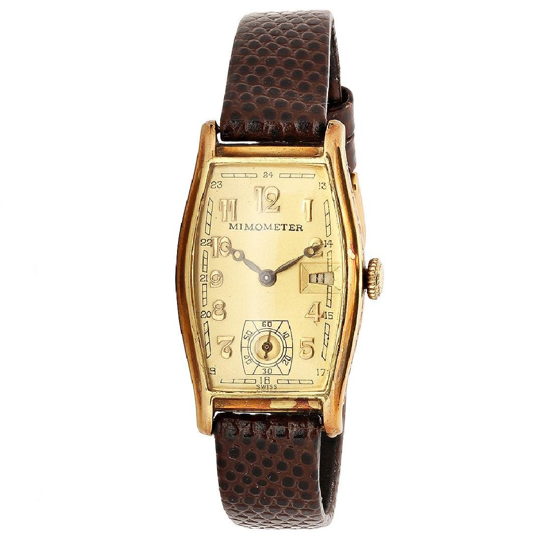 Art Deco Mimometer with Date by Gerard Peregaux 14K