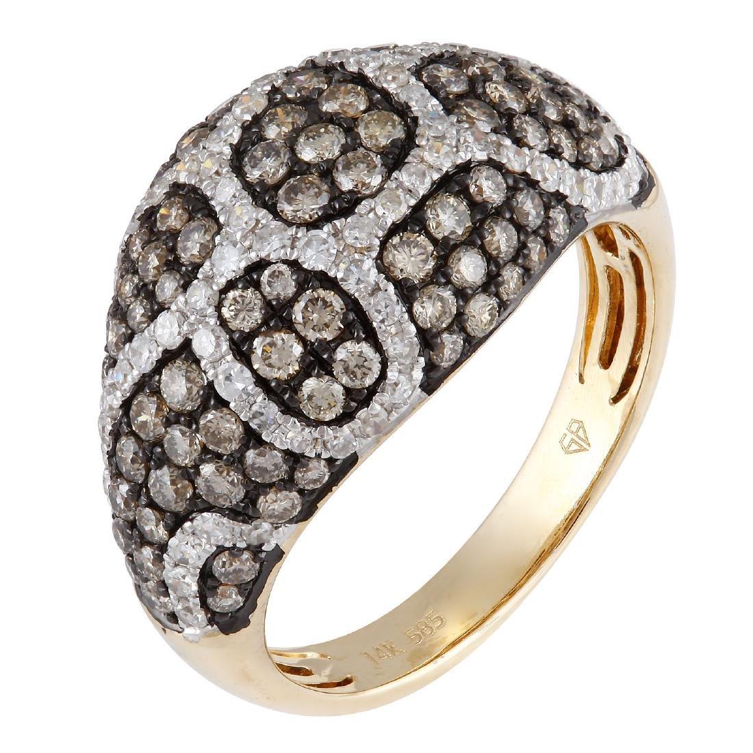 14KT Yellow Gold 1.79ctw Women's Diamond Cocktail Ring - 2