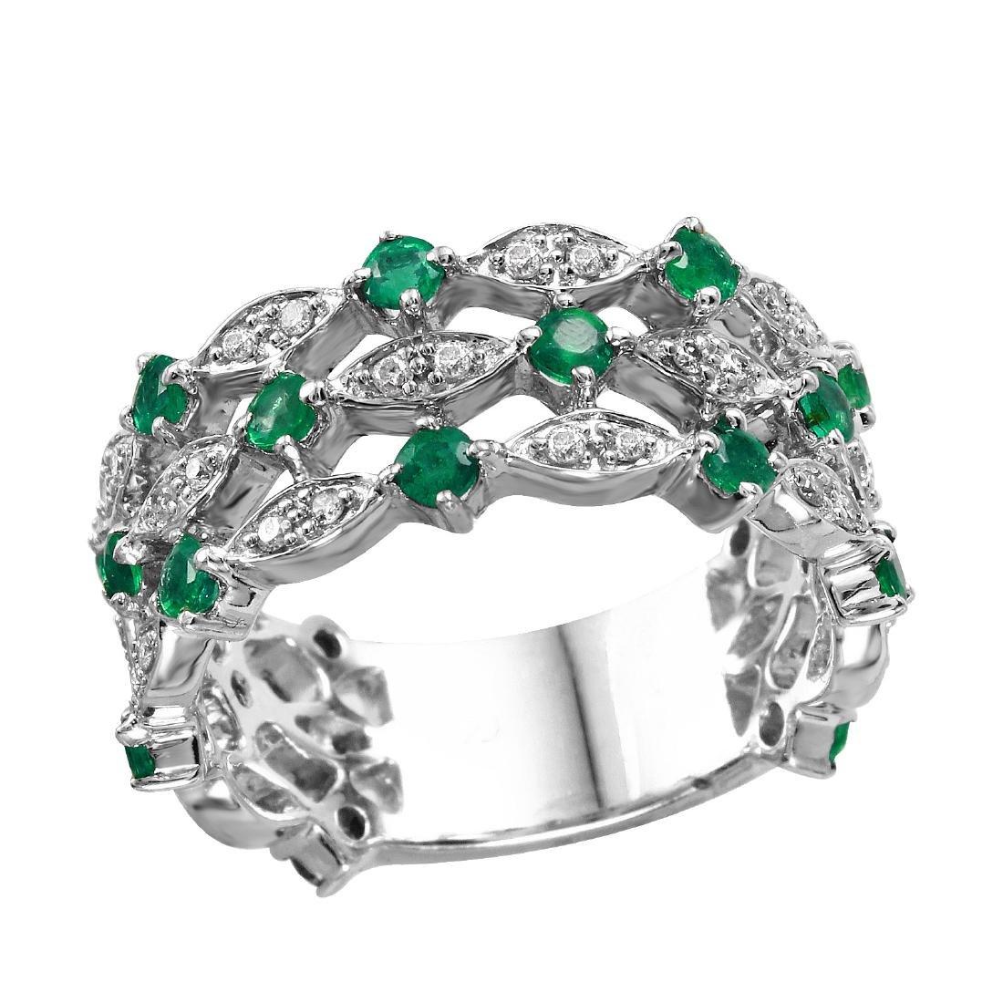 14KT White Gold 1.25ctw Emerald Diamond Ring Size 6.25