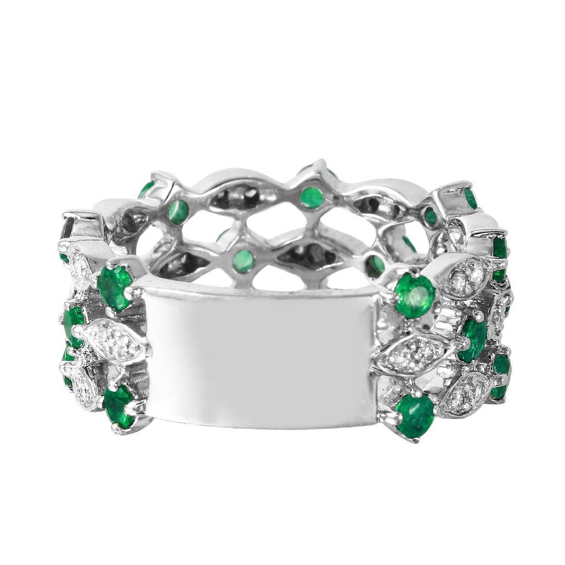 14KT White Gold 1.25ctw Emerald Diamond Ring Size 6.25 - 2