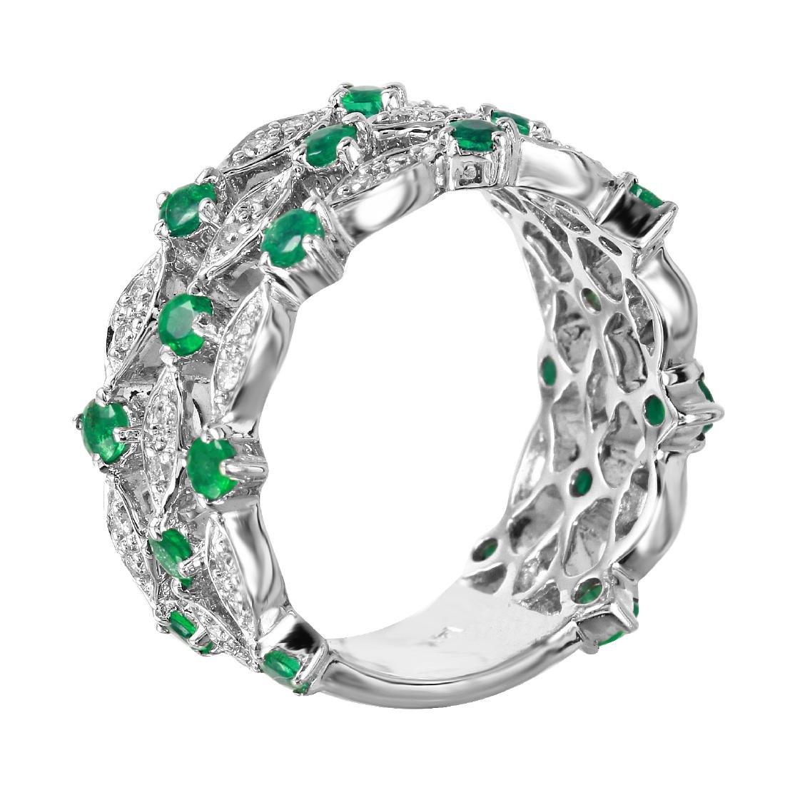 14KT White Gold 1.25ctw Emerald Diamond Ring Size 6.25 - 6