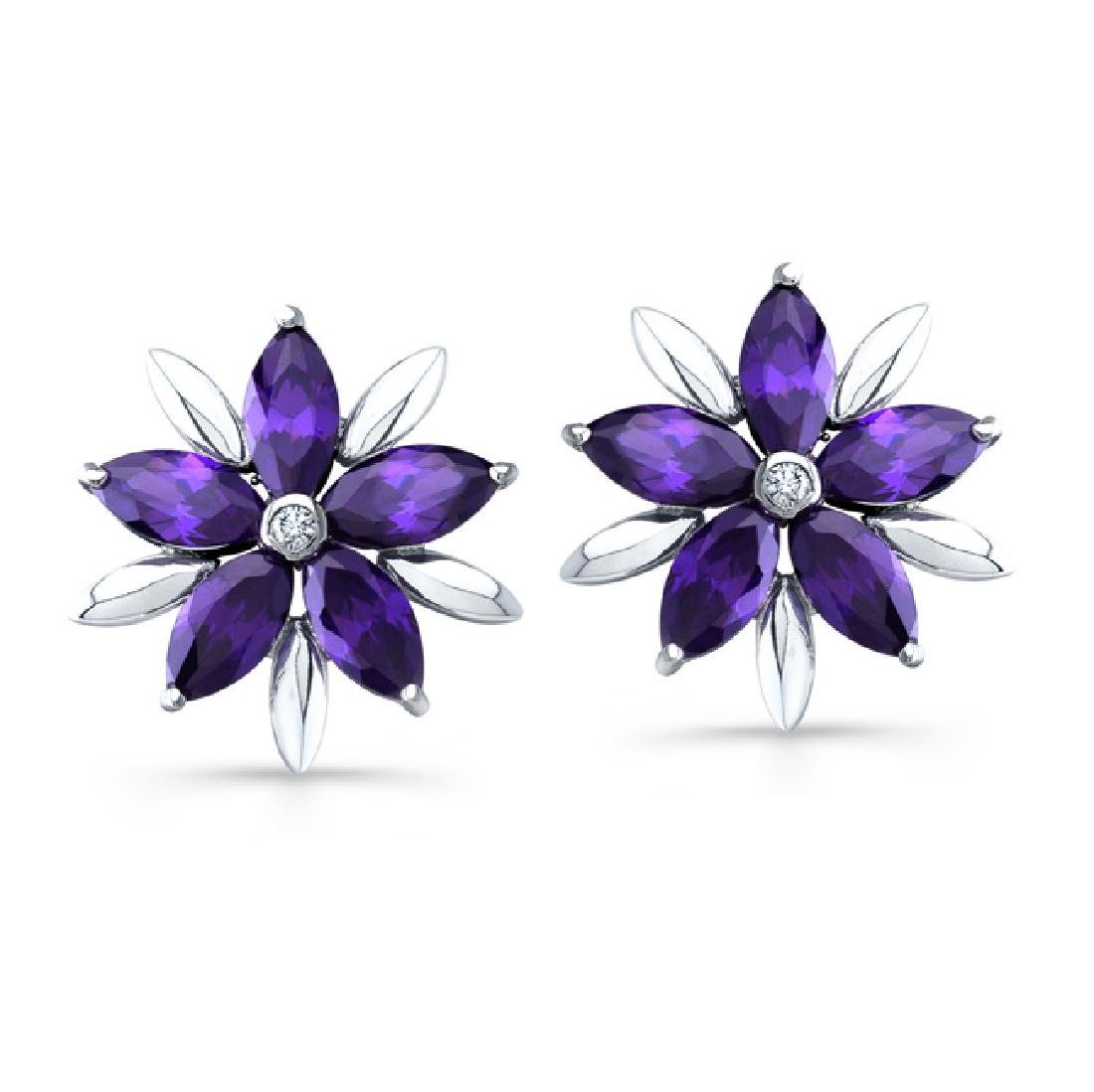 Sterling Silver Rhodium Plated Simulated Amethyst CZ