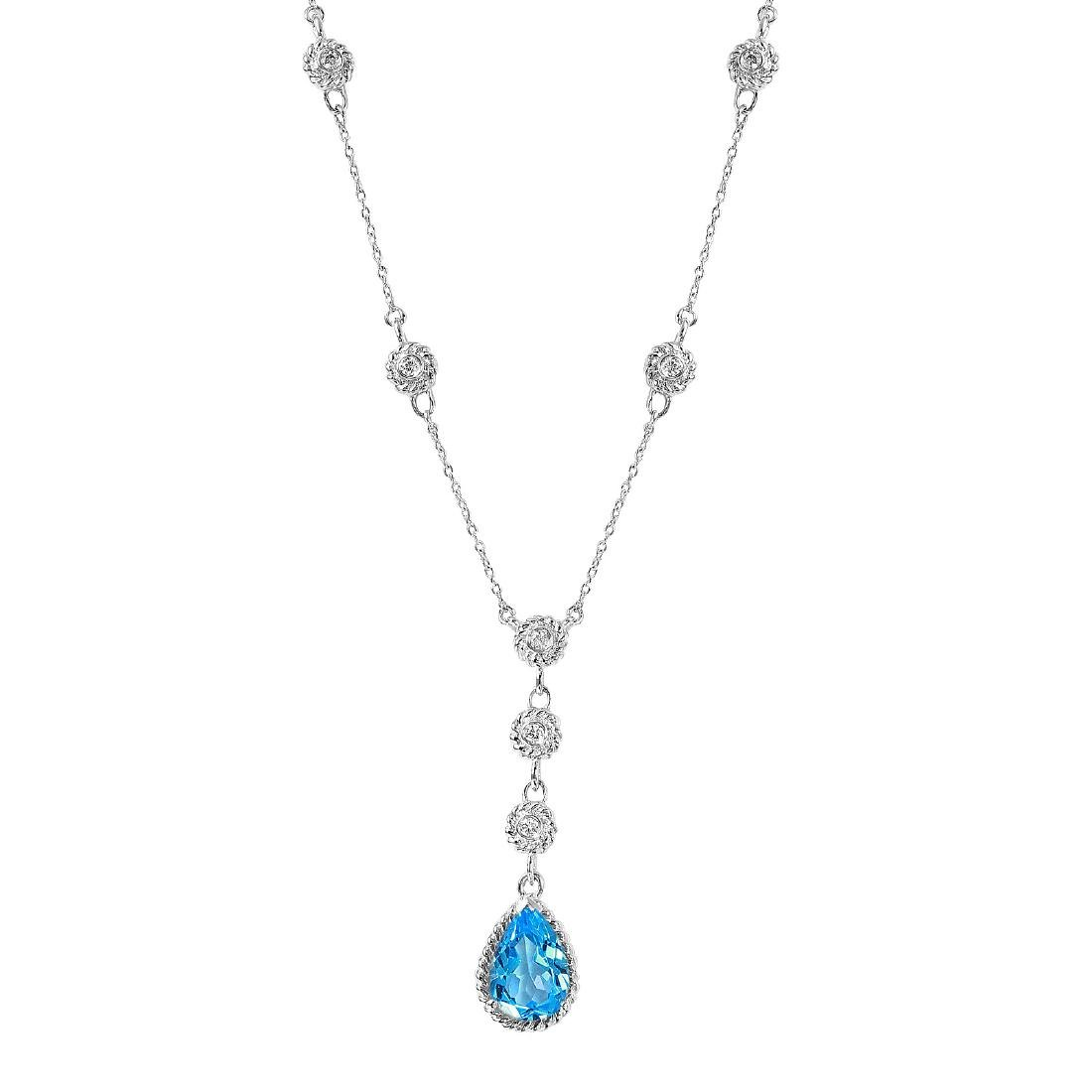 14KT White Gold 2.14ctw Topaz Diamond Necklace Length - 5