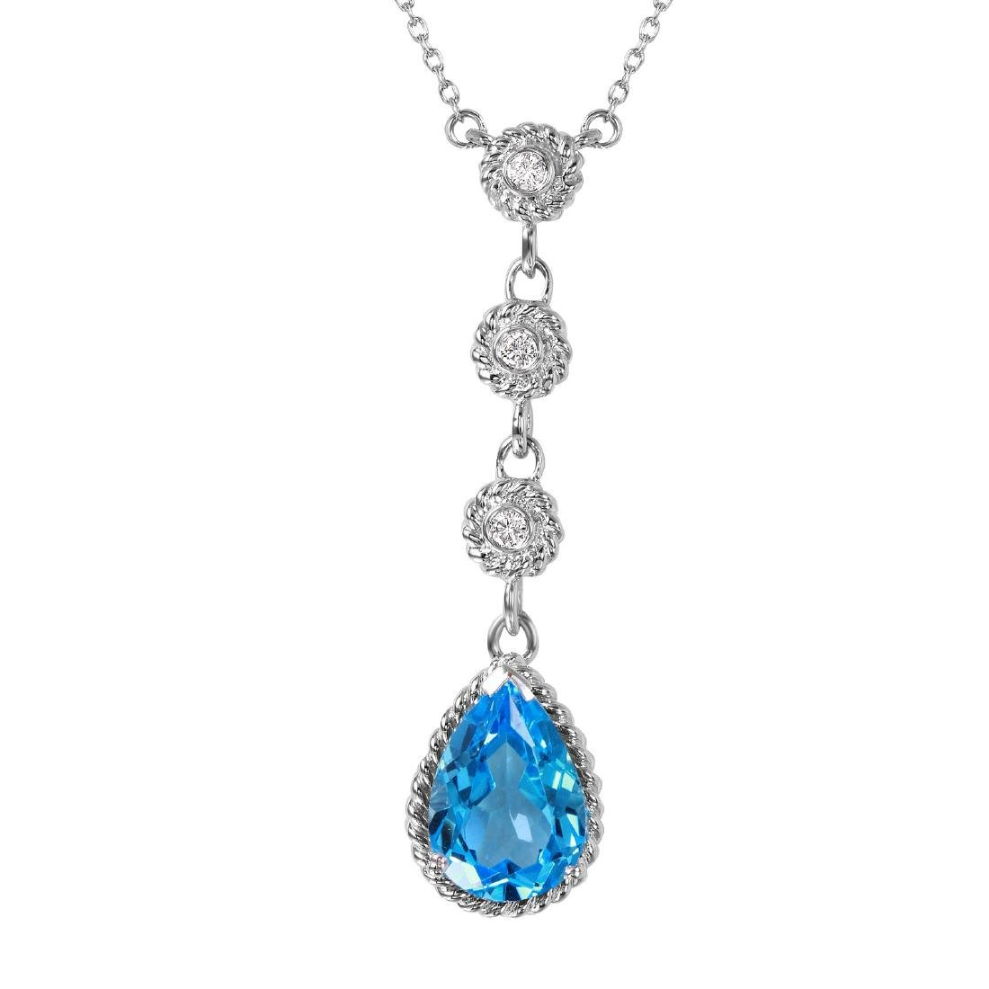 14KT White Gold 2.14ctw Topaz Diamond Necklace Length - 8