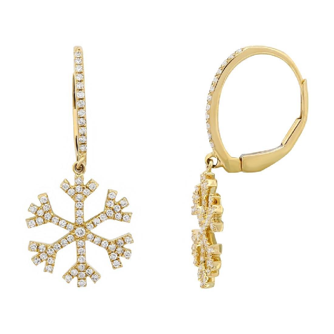 14KT Yellow Gold 0.4ctw Diamond Earrings L7943 - 2