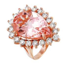 14KT Rose Gold 10.43ctw Morganite Diamond Cocktail Ring