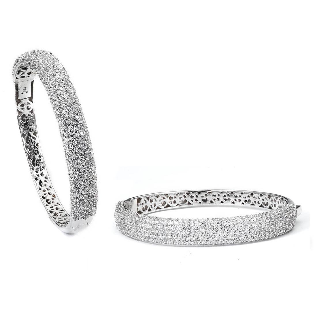 Sterling Silver Rhodium Plated micro pave CZ Bangle