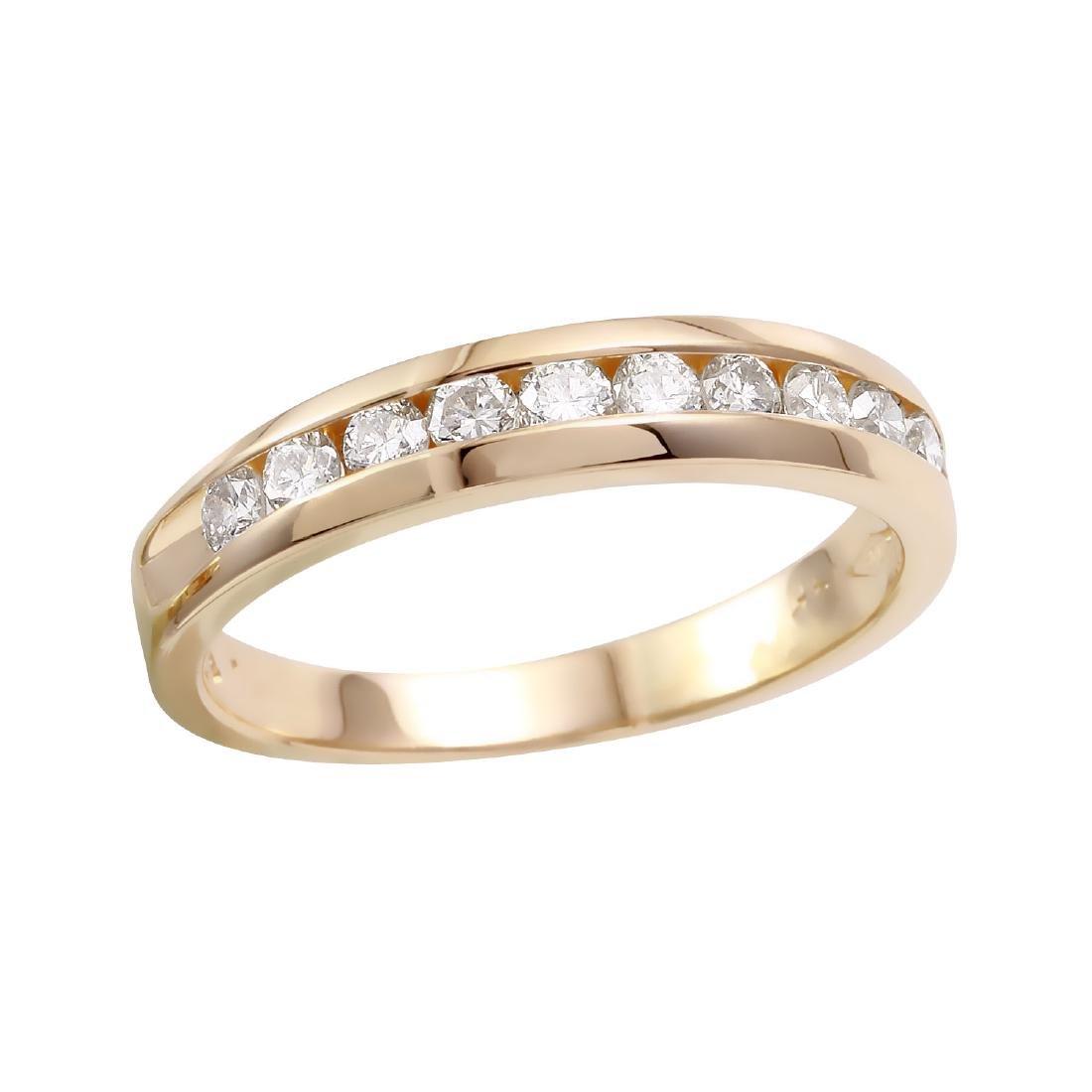 14KT Yellow Gold 0.45ctw Diamond Wedding Band Size 6.25 - 3