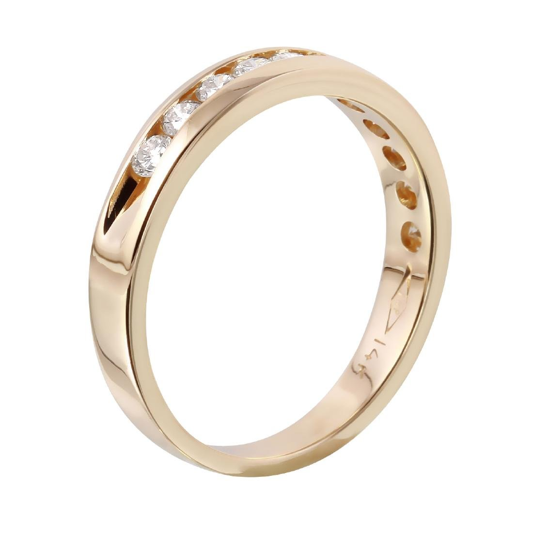 14KT Yellow Gold 0.45ctw Diamond Wedding Band Size 6.25 - 4