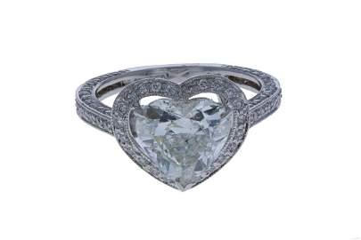 18KT White Gold Ladies Heart Shape Diamond Ring EGL