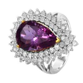 14KT Two Tone Gold Amethyst Diamond Cocktail Ring Size