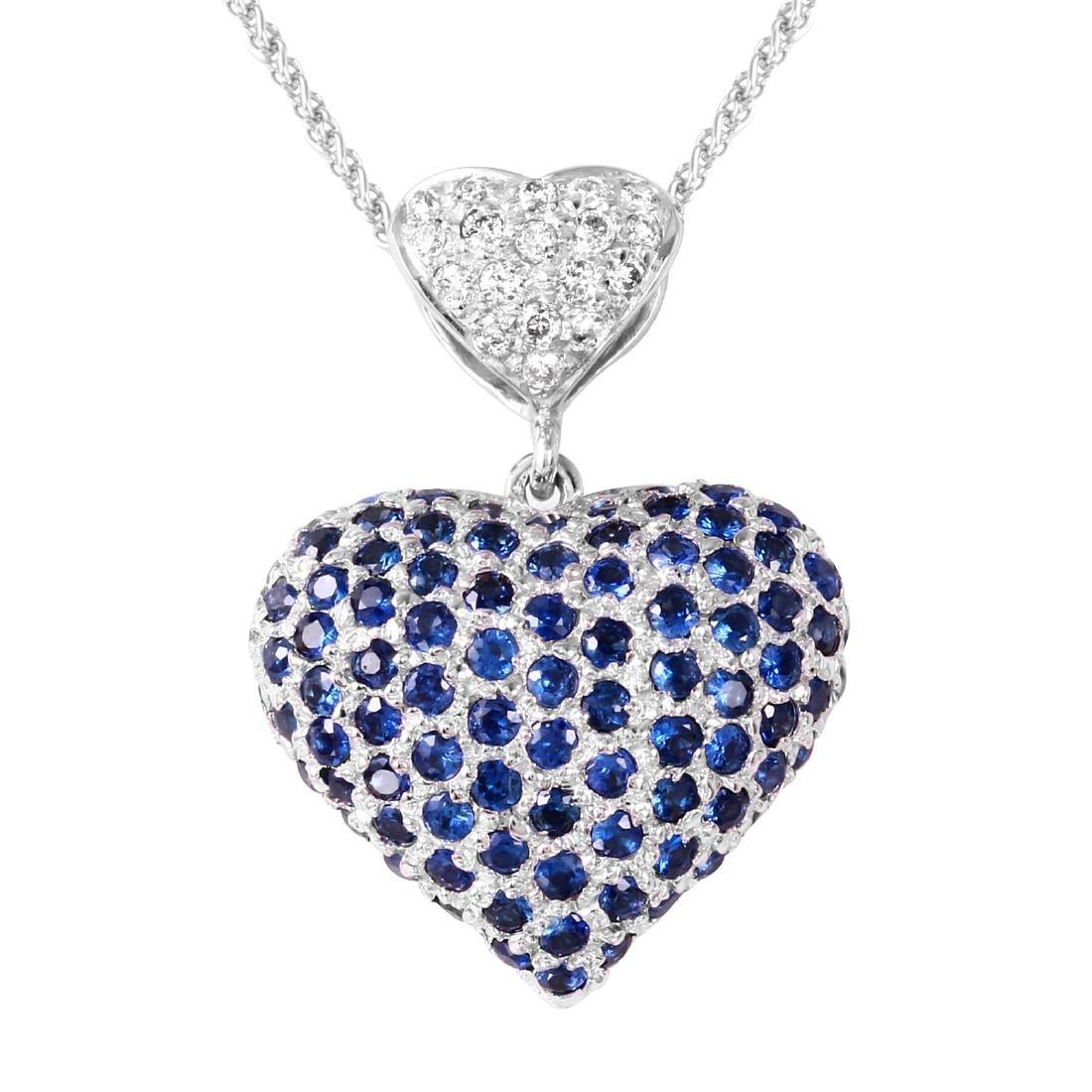 "14KT Gold Sapphire Diamond Pendant Chain Length 18"" - 3"