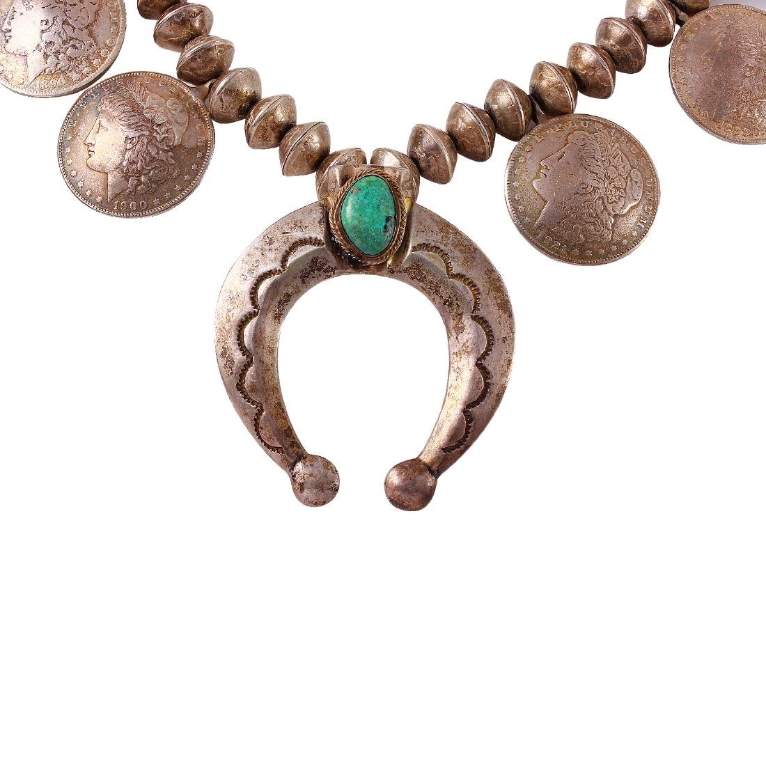 Handmade Coin Sterling Silver Navajo Turquoise Necklace - 6