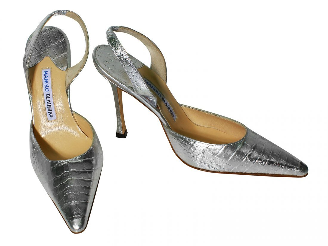 NEW Manolo Blahnik Shoes Silver Carolyne Crocodile
