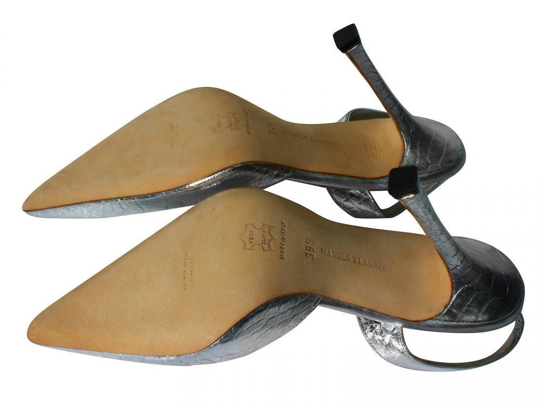 NEW Manolo Blahnik Shoes Silver Carolyne Crocodile - 3