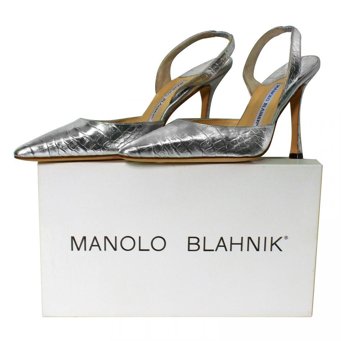 NEW Manolo Blahnik Shoes Silver Carolyne Crocodile - 4
