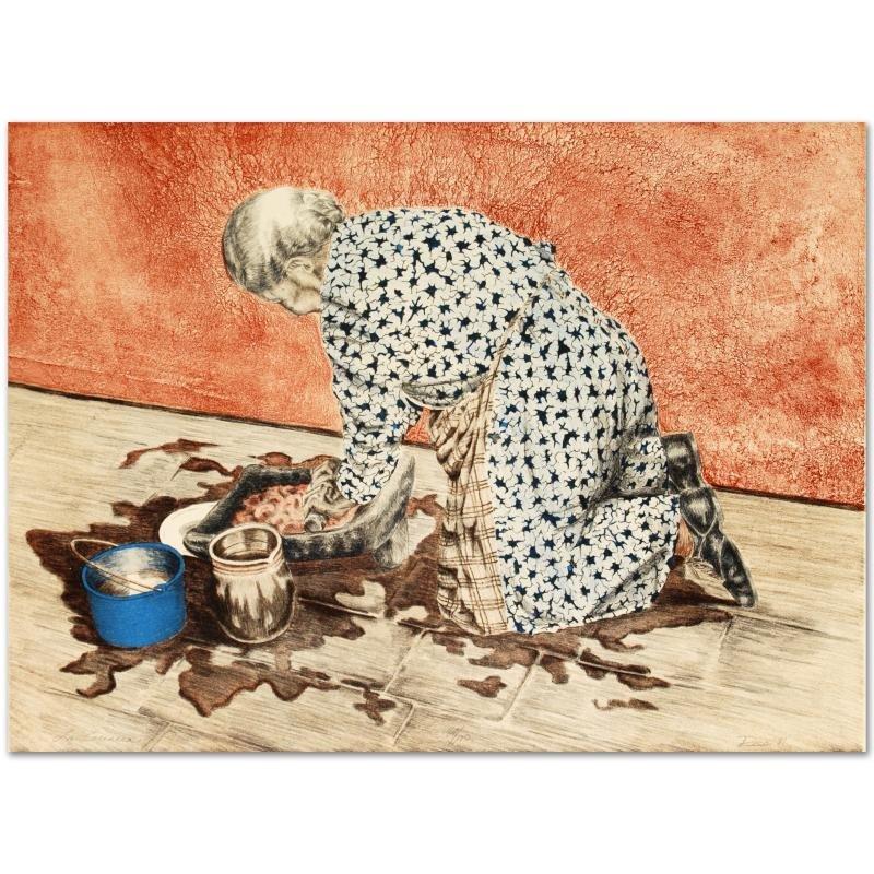 """""""La Cocinera"""" Limited Edition Lithograph by Rico,"""
