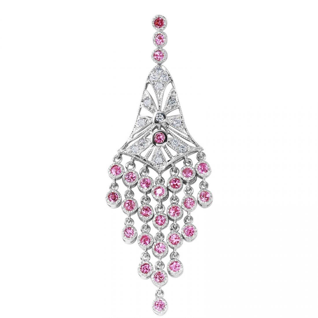 14KT White Gold Sapphire and Diamond Pendant - #2032