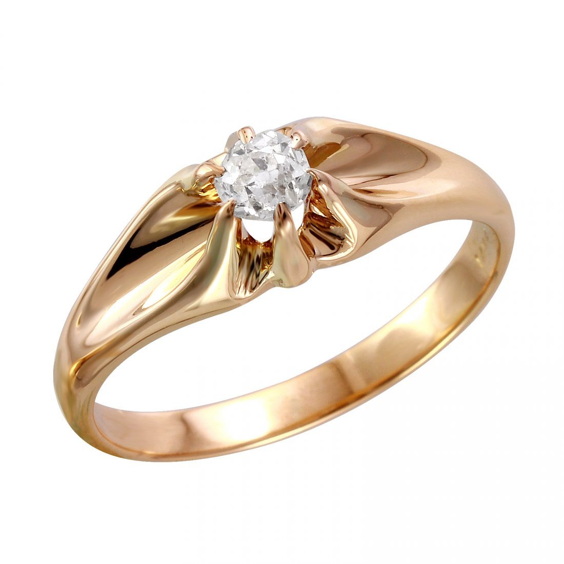 14KT Yellow Gold Old European Cut Diamond Solitaire