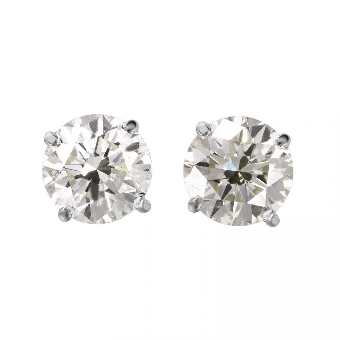14KT White Gold Diamond Stud Earrings - #1698