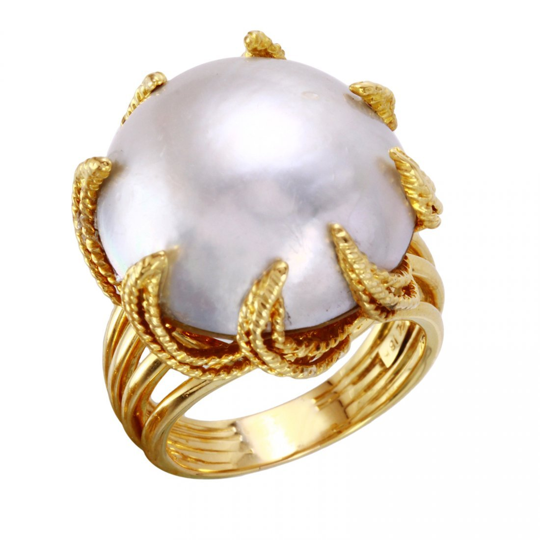 18KT Yellow Gold Pearl Ring - #1872