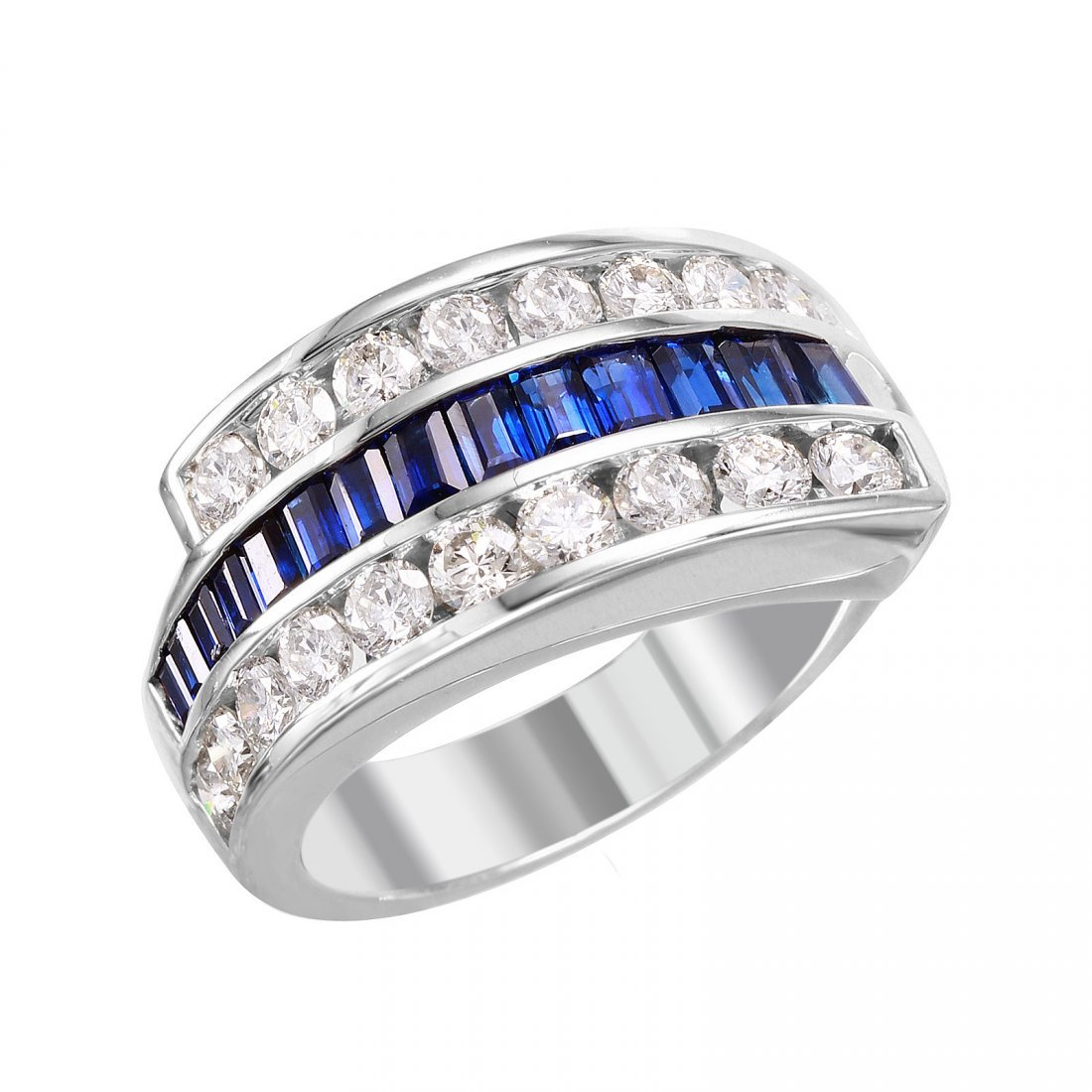 14KT White Gold Sapphire and Diamond Ring - #2042