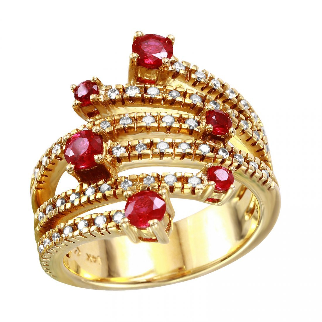 14KT Yellow Gold Ruby and Diamond Ring - #2086-8