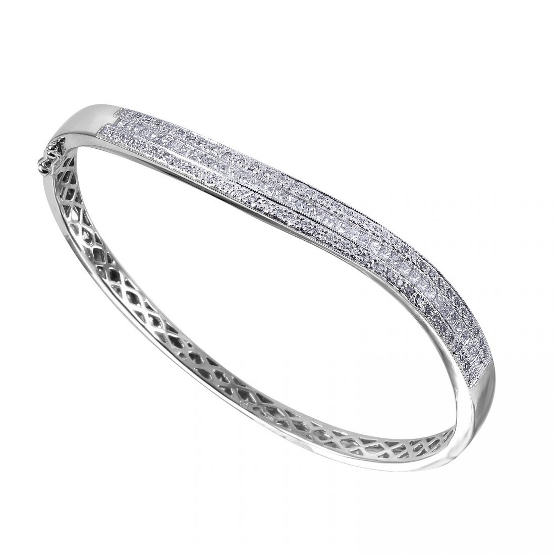 14KT White Gold Diamond Bangle Bracelet - #2012-0
