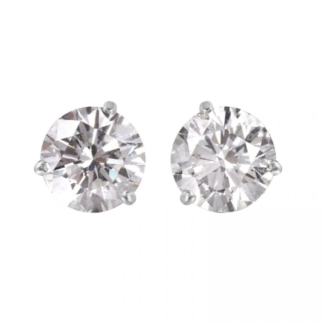 14KT White Gold Diamond Stud Earrings - #1696