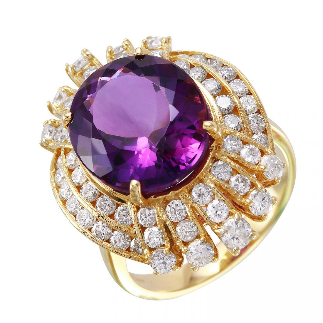 14KT Yellow Gold Amethyst and Diamond Ring - #1481