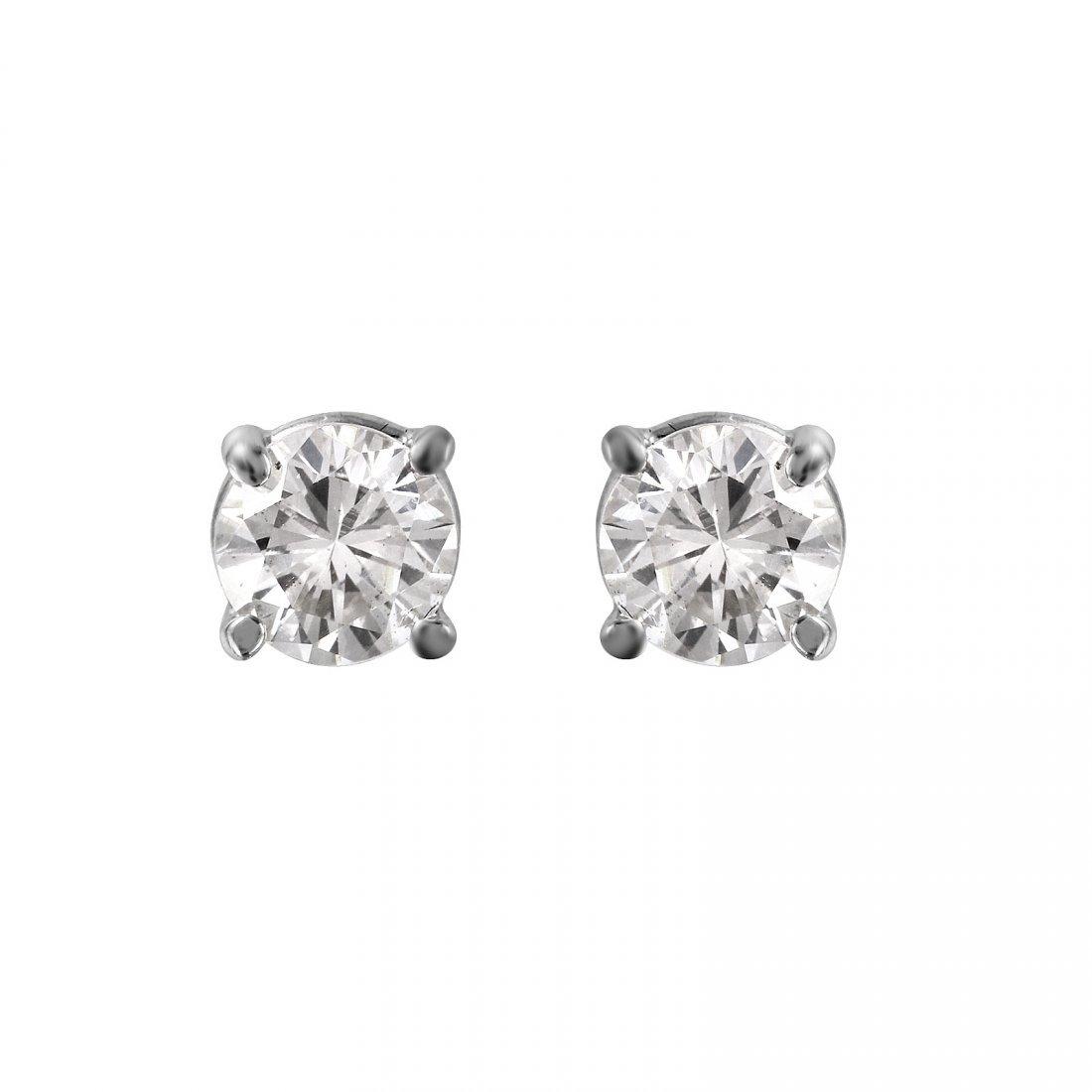 14KT White Gold Diamond Stud Earrings - #1693