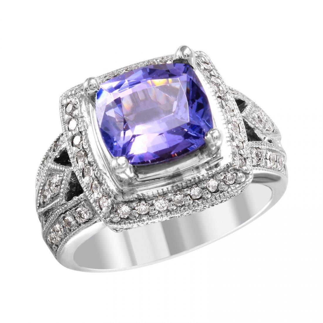 NEW 14KT White Gold Tanzanite and Diamond Ring - #2004