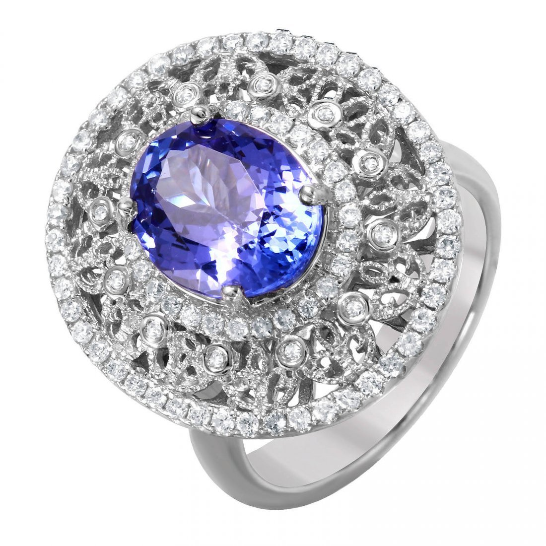 14KT White Gold Tanzanite and Diamond Ring - #1497