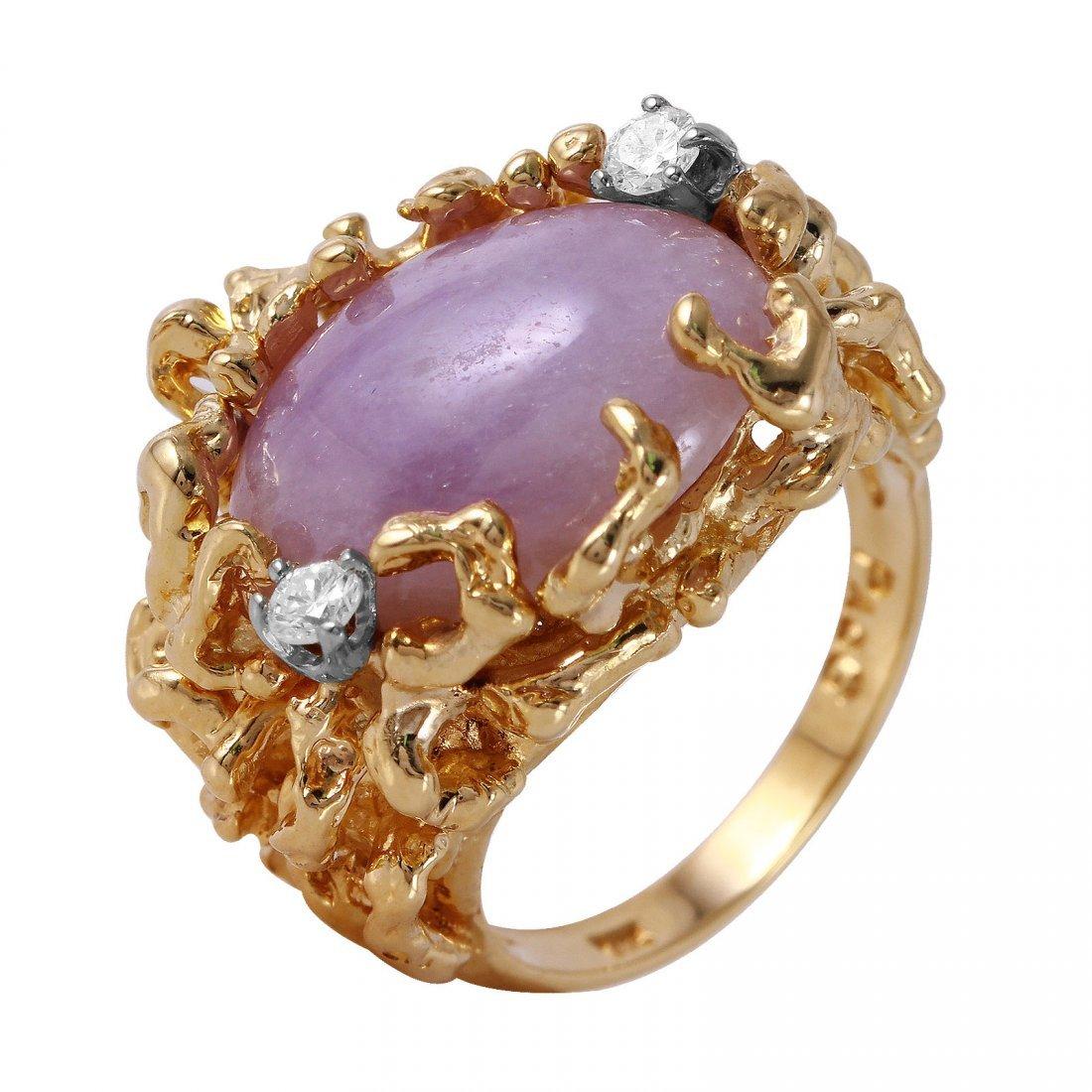 14KT Yellow Gold Jade and Diamond Ring - #63