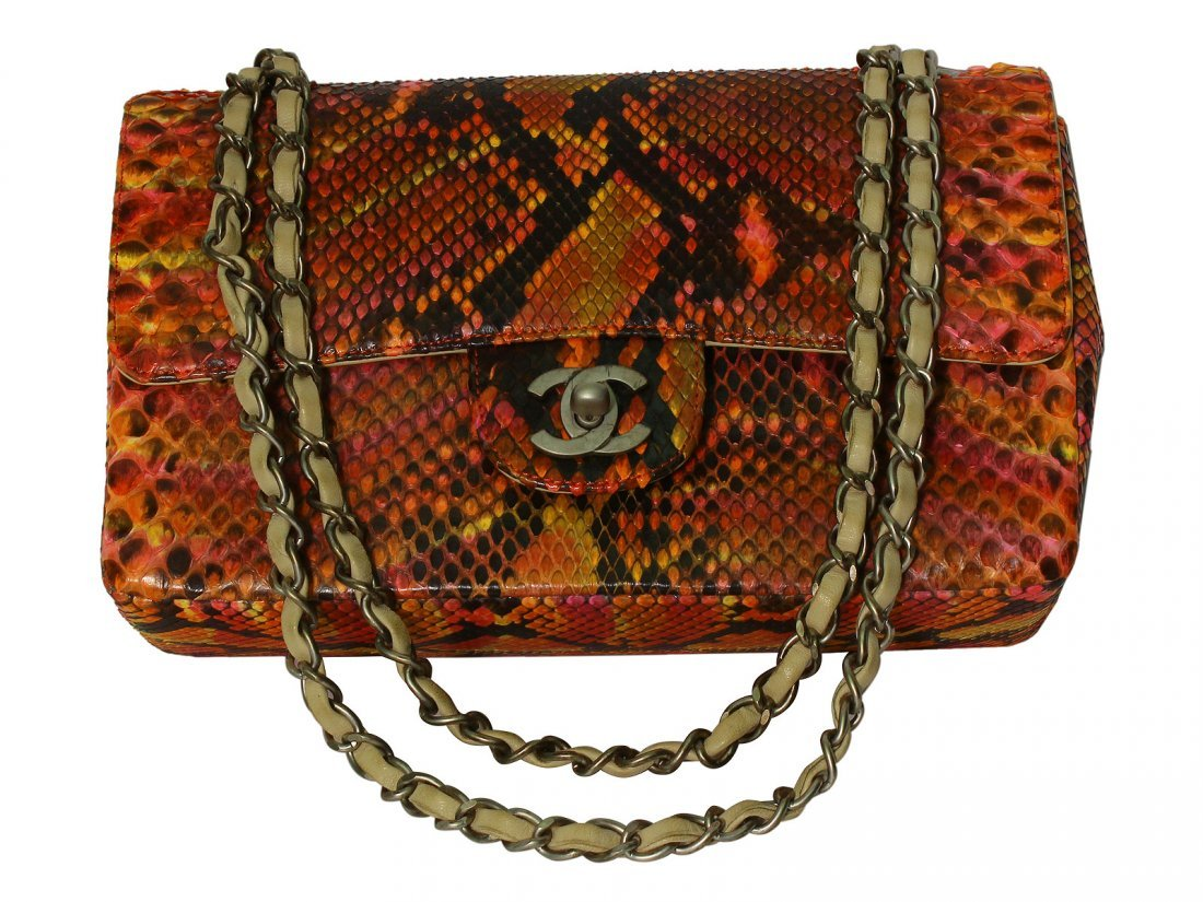 CHANEL Designer Multi-Color Python Double Flat Bag with