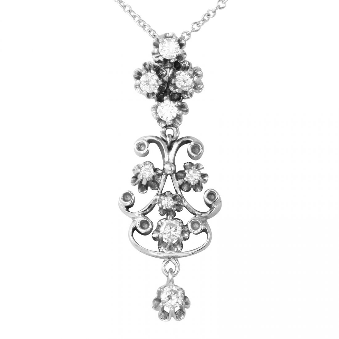 14KT White Gold Diamond Pendant and Chain