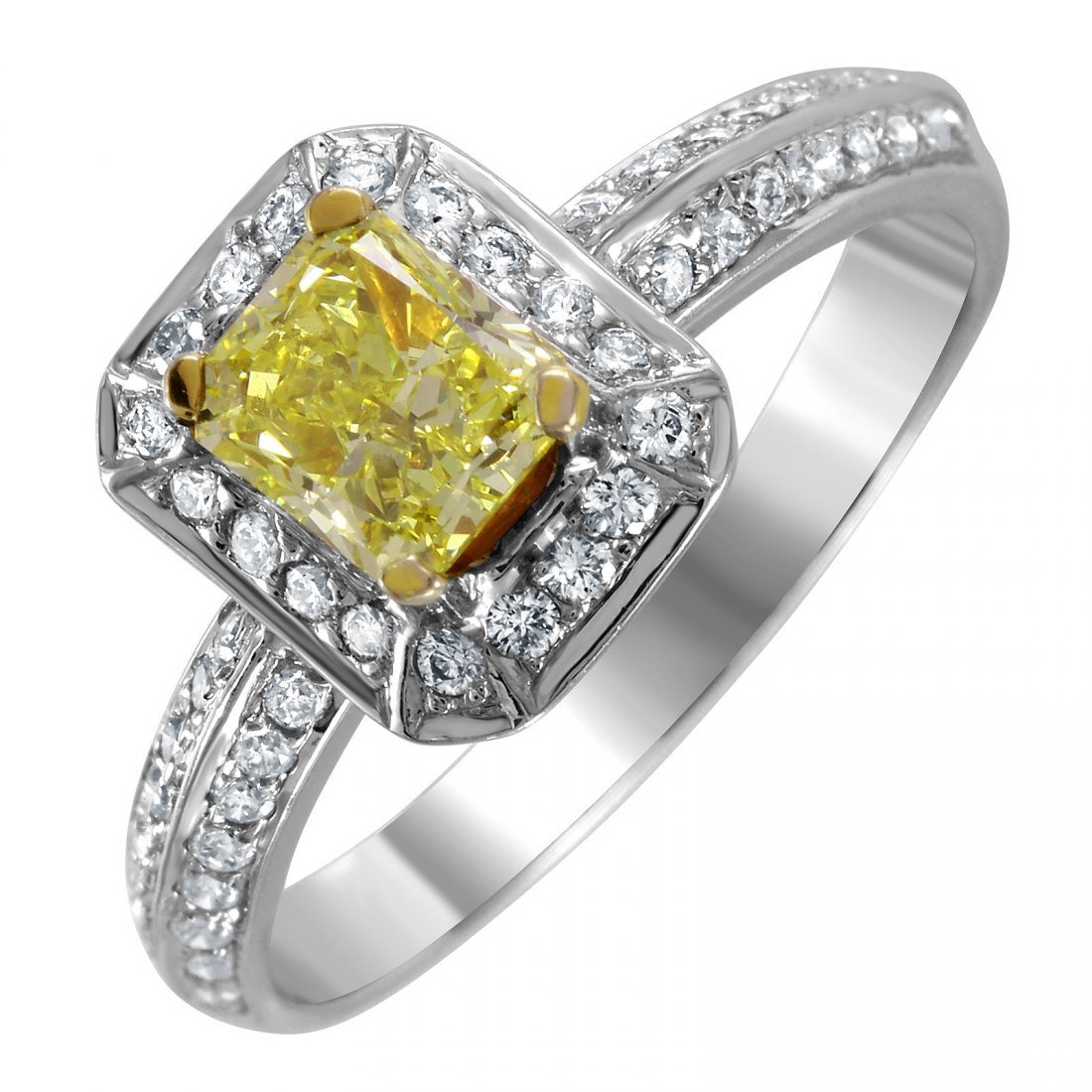 14KT White and Yellow Gold Diamond Engagement Ring