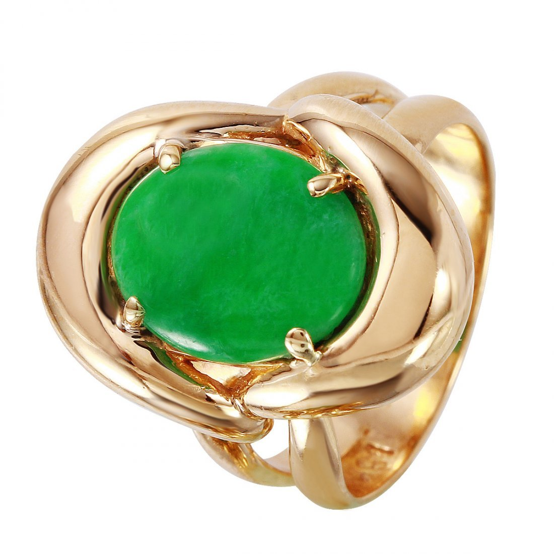 Ladies 18KT Yellow Gold Jade Ring
